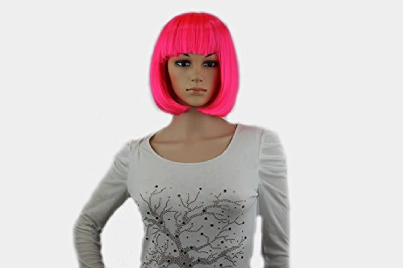感性処理序文コスプレアニメウィッグ、カラーボブヘア、ぱっつんバング、ダンスパーティーでウィッグ、ヘアカバー (赤いピンク)