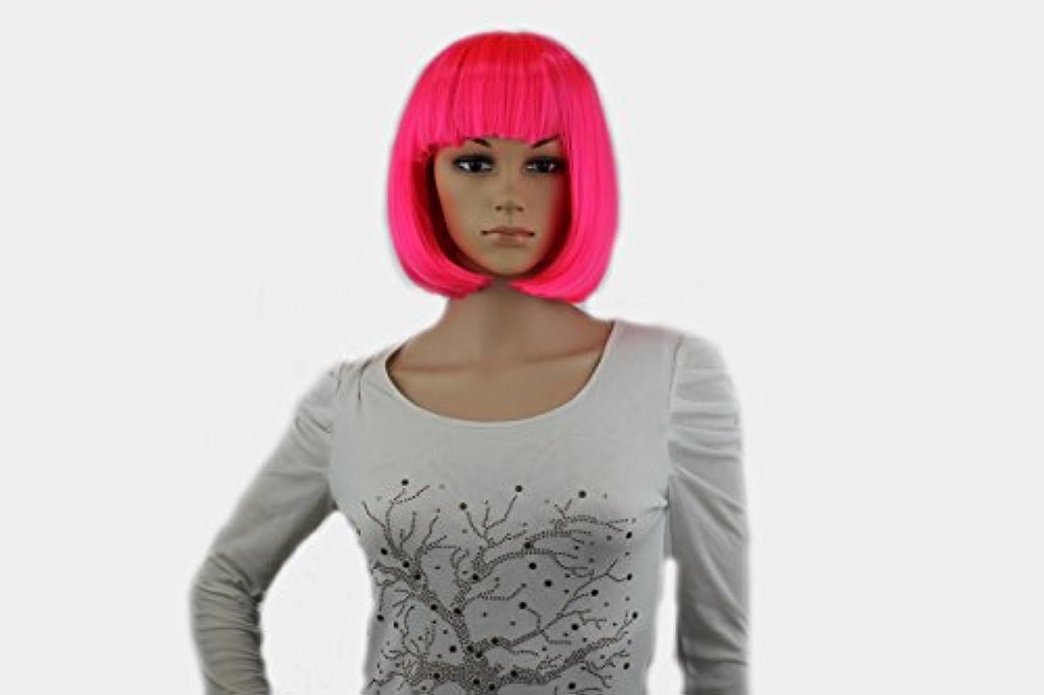 型アジテーションサイトラインコスプレアニメウィッグ、カラーボブヘア、ぱっつんバング、ダンスパーティーでウィッグ、ヘアカバー (ピンク)