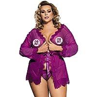 女性のセクシーなレースサテンパジャマの下着パジャマメイクアップワンピースnightdress Gロープベルト,Purple,3XL