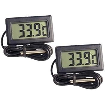 簡単便利 小型 デジタル 温度計 -50℃~+110℃ (コード長1M 黒 2個セット)
