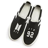 Fanstown KPOP 韓流 BTS 防弾少年団 ロゴと特殊マーク フラットキャンバス靴 スニーカー デッキシューズ
