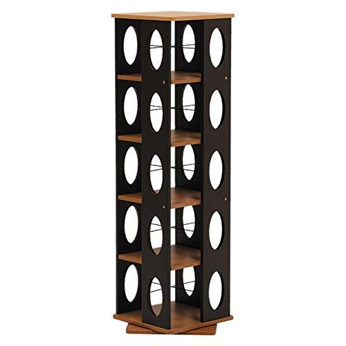 回転ラック ( 本棚 ブックシェルフ ) 5段 高さ120cm 大容量 スリム ブラウン 〔本収納 CD収納〕 【デザインファニチャー】