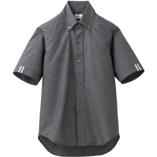 スポーツカフェスタイル【ボタンダウンシャツ】(半袖/兼用)《031-EP-7421》 (3L, C-10 ブラック)