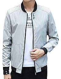 gawaga メンズロングスリーブ軽量ジッパーカジュアルクラシックボンバージャケット
