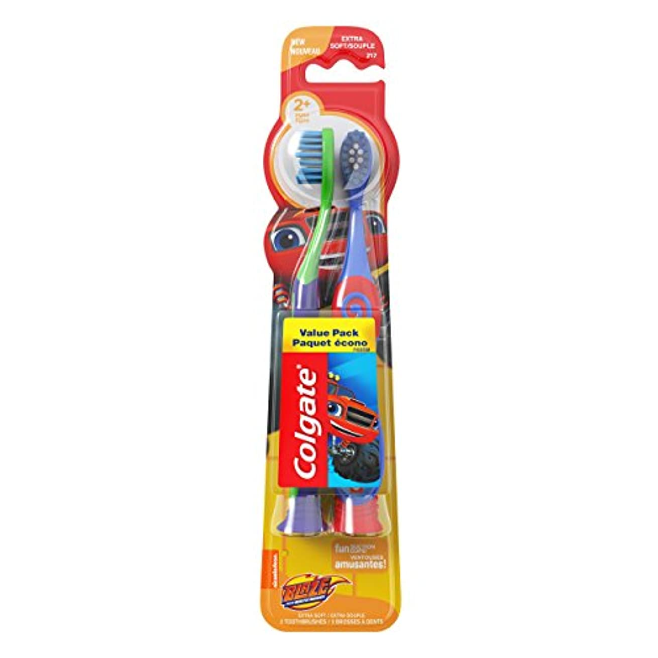 圧倒する恐怖症祖母Colgate 吸盤付きキッズ柔らかい歯ブラシ、ブレイズバリューパック(2カウント)
