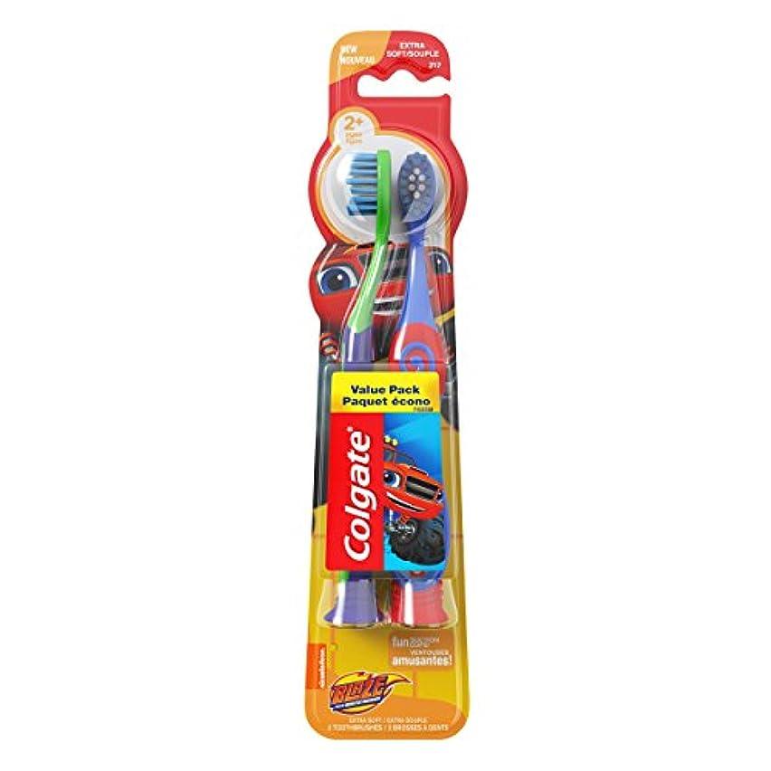 恵みヘア厚くするColgate 吸盤付きキッズ柔らかい歯ブラシ、ブレイズバリューパック(2カウント)