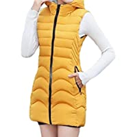 Women's Mid Length Down Jacket Hooded Sleeveless Warm Quilted Jacket Vest Tops