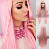 Xiweiya Long pink Silky straight wig Synthetic Lace Front Wigs With Heat Resistant Fiber Pink, Mix color pink color soft wig for women, drag queen silky straight hair replacement wig 24 inch