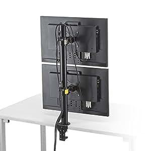 サンワダイレクト 液晶モニターアーム デュアルモニター対応 上下2台設置 クランプ固定 100-LA031