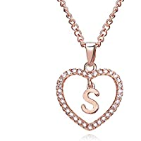 Love Heart Initial Pendant Necklace Rose Gold Crystal with Letters A-Z Jewelry