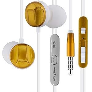 KingYou マイク付き 音量 調節 カナル型 イヤホン / iPhone Galaxy Xperia スマホ ヘッドセット / ウォークマン iPod 対応 音楽 ステレオイヤホン KF00 (ゴールド)
