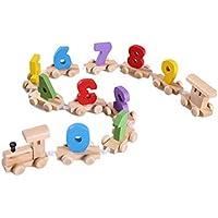 yeefantクラシック木製ゲーム、子供早期教育木製おもちゃコースターブロックPersonalisedデジタル名列車トラック木製パイプバランスブロックBuilding Construction for Children Teen