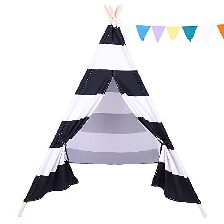 SDIiLAN インディアンテント 子供用ティピーテント 屋内ドールハウス 小さな旗とポケット付き CTT001