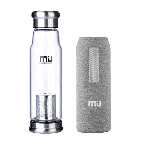 MIU COLOR 水筒 ボトル ガラス水筒 マグボトル 550ML 茶こし付き ナイロンのカバー 会社や運動各場所用(グレー)