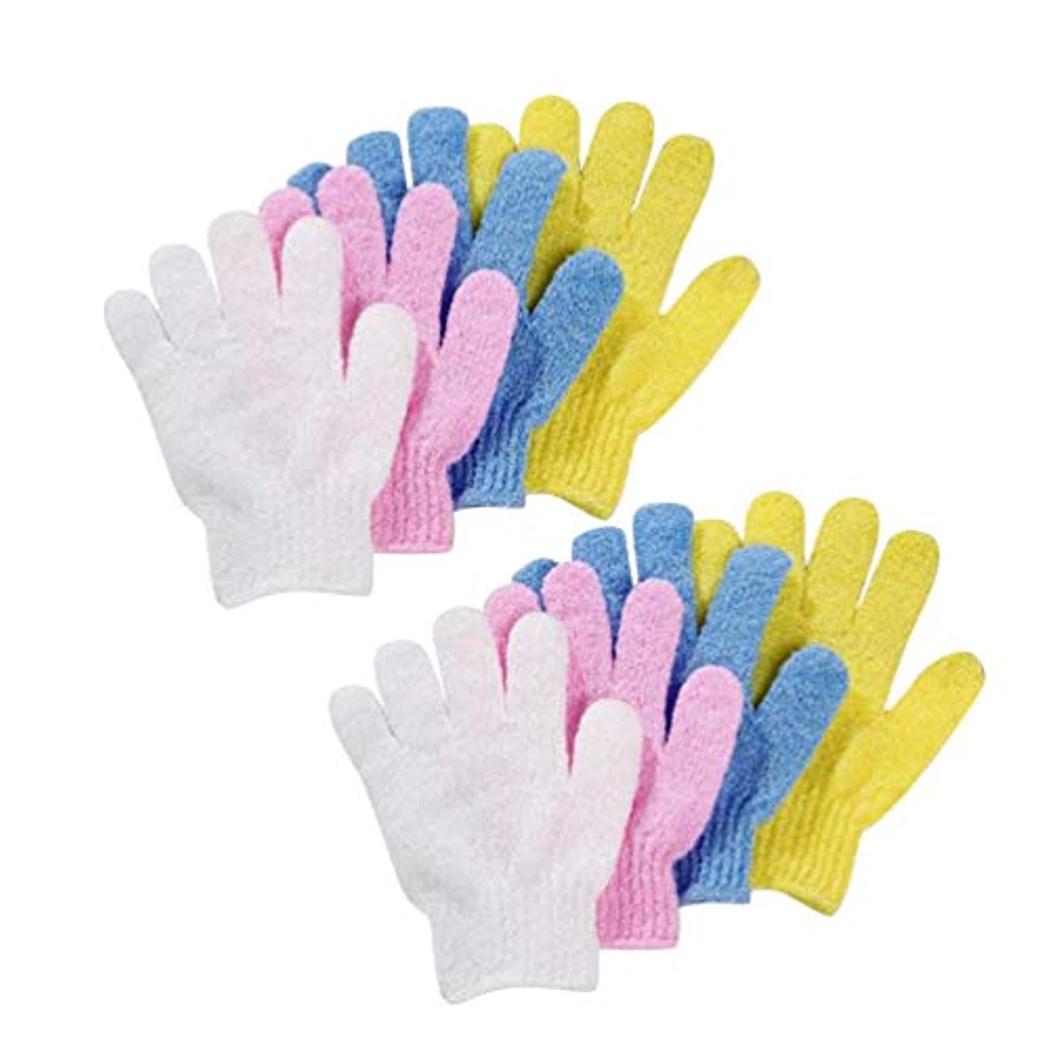 レトルトのり存在Frcolor 浴用手袋 お風呂手袋 五本指 泡立ち 角質取り シャワーバスグローブ ナイロン 垢すり手袋 バス用品 4ペア 8枚セット(ホワイト)