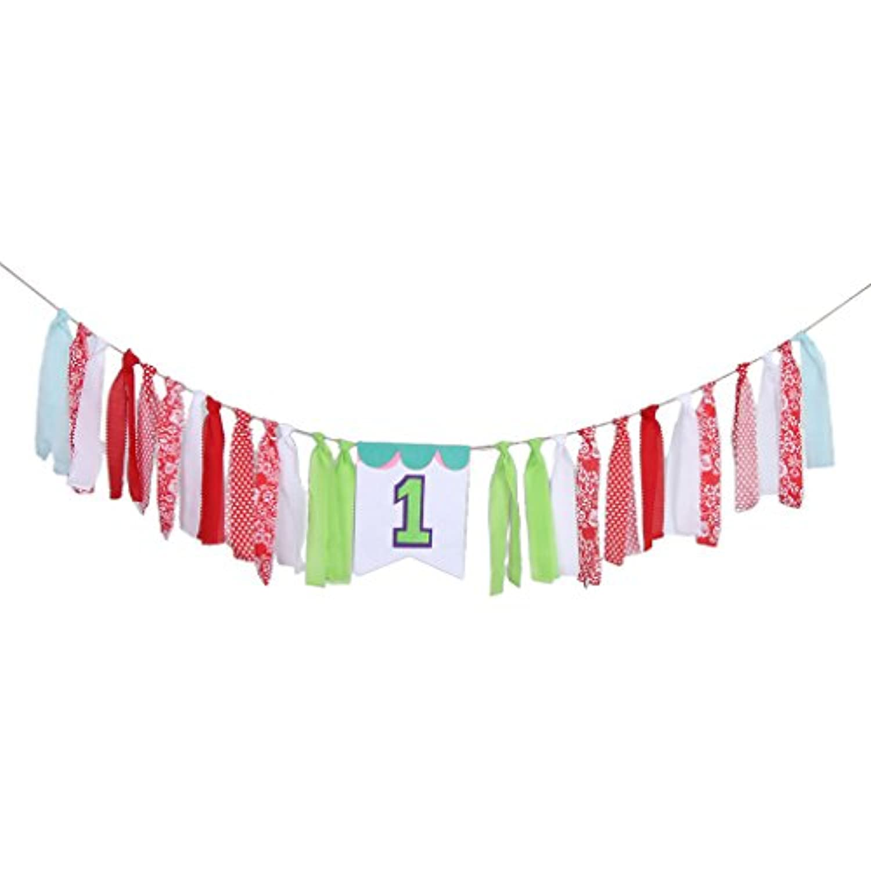 Perfeclan リボンガーランド バナー 子供誕生日 1歳 誕生日 記念日 結婚記念日 バナー タッセルガーランド 赤ちゃん 8色選べる - スタイル2