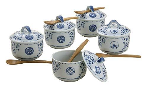 波佐見焼 蒸し碗セット 唐草丸紋柄 (化粧箱入) 31825