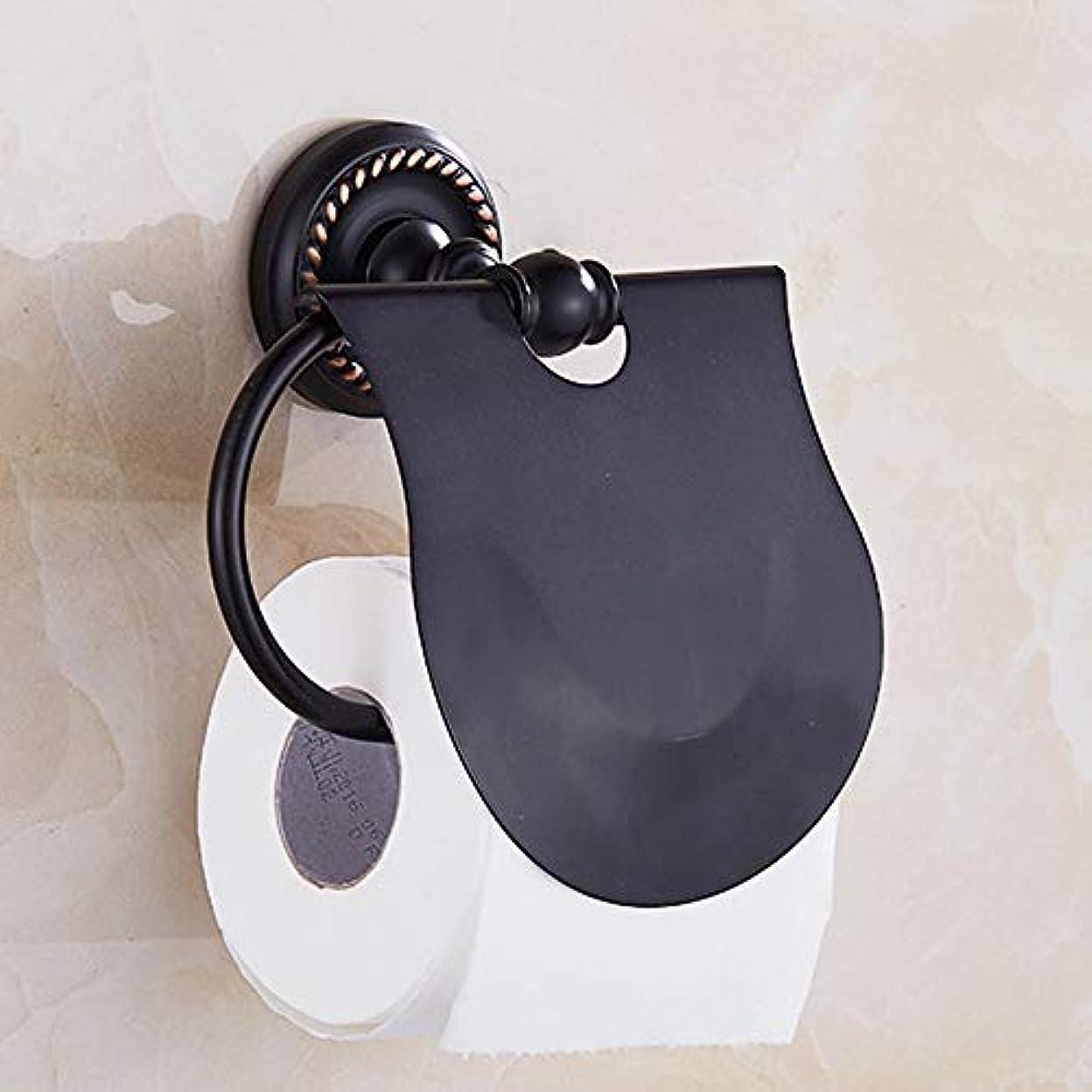 リムサッカーステレオタイプZZLX 紙タオルホルダー、ヨーロッパのレトロフル銅ブラック模造のアンティークトイレットペーパーホルダートイレットペーパートレイ ロングハンドル風呂ブラシ (色 : A)