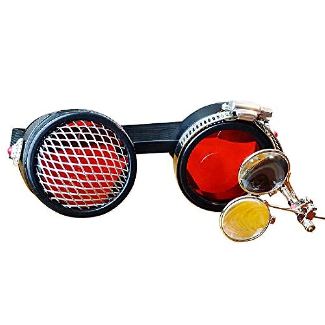 行うライラック高揚したOWNFSKNL ビンテージスチームパンク産業ゴーグルハロウィーンゴーグルカーニバルメガネ(赤) (Color : Red)