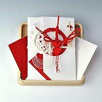 結納金だけの結納-略式結納品- 結納金封【鶴亀・赤白絹巻】+白木台 結納屋さん.com m2102