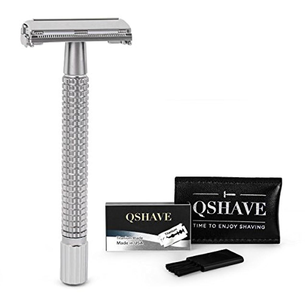 目的期待する契約QSHAVE 両刃剃刀 4インチ長ハンドル安全カミソリ ツイストバタフライオープン クロムマット仕上げ(カミソリ1本 + チタンコート替え刃5枚)