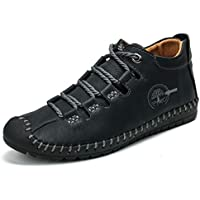 Pumoes Mens Casual Ankle Boots Fashion Hand Stitching Soft Leather Chukka Boots Outdoor Breathable Driving Shoes Lightweight Lace up Anti-Skid Loafer Flats Oxford Shoes