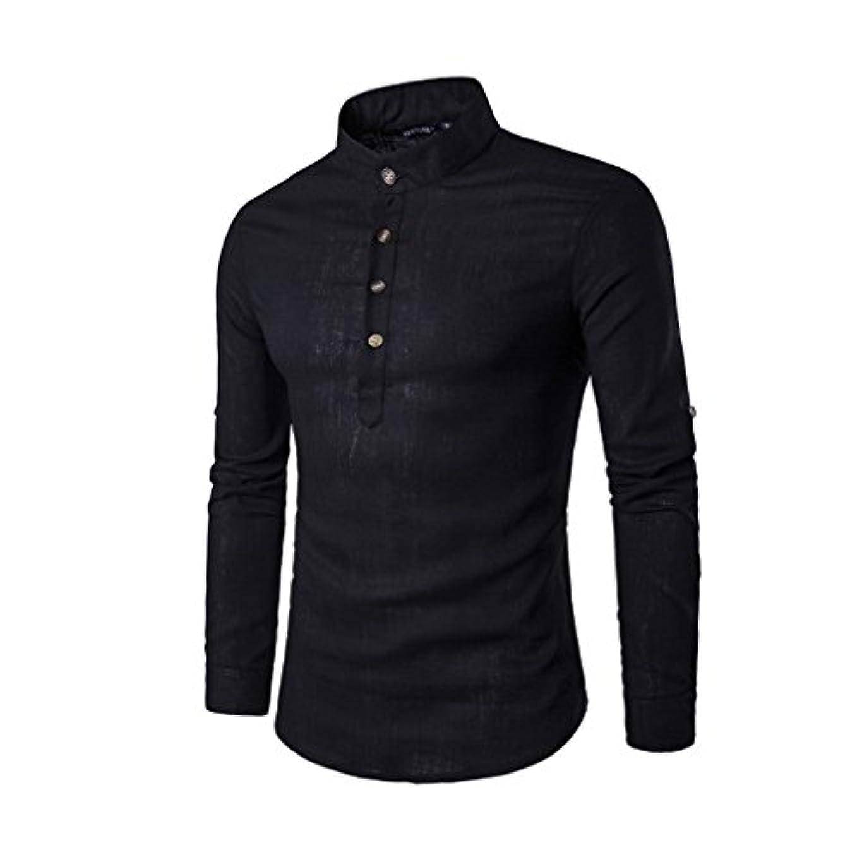 民族主義化石レンズHonghu メンズ シャツ 長袖 カジュアル 無地 立て衿 スタントカラ 麻 ブラック M 1PC