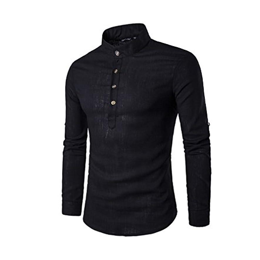 セラー興味スキーHonghu メンズ シャツ 長袖 カジュアル 無地 立て衿 スタントカラ 麻 ブラック L 1PC