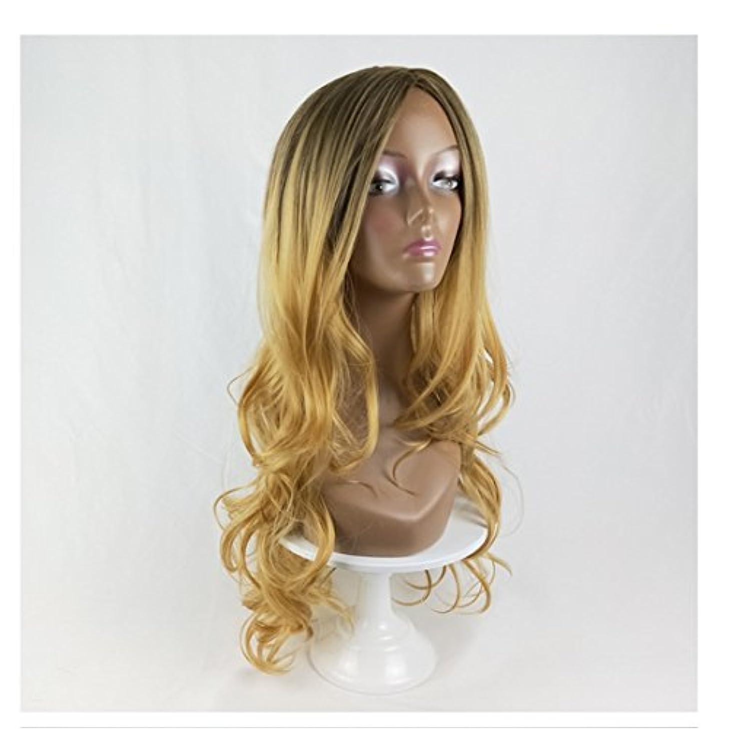 担当者鋸歯状冊子JIANFU 人形の黒コスプレウィッグ女性のための人間の髪ロングバンズウィッグ黒の女性のためのナチュラルカラーグラデーション長いカーリーウィッグ220g (Color : Black Gradient Linen Yellow)