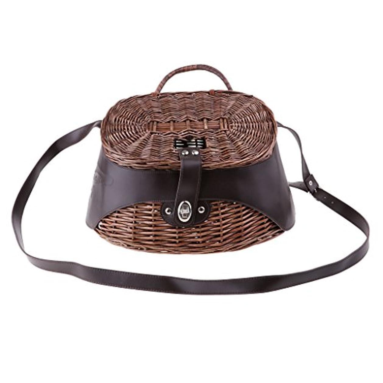 SunniMix 釣りバスケット 魚ケージ ルアーケース 肩掛け 籐織り 温度と湿度制御 新鮮保つ 換気提供 通気性
