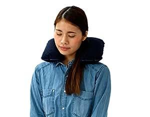 ポケットに携帯できる トラベル用クッション枕 紺