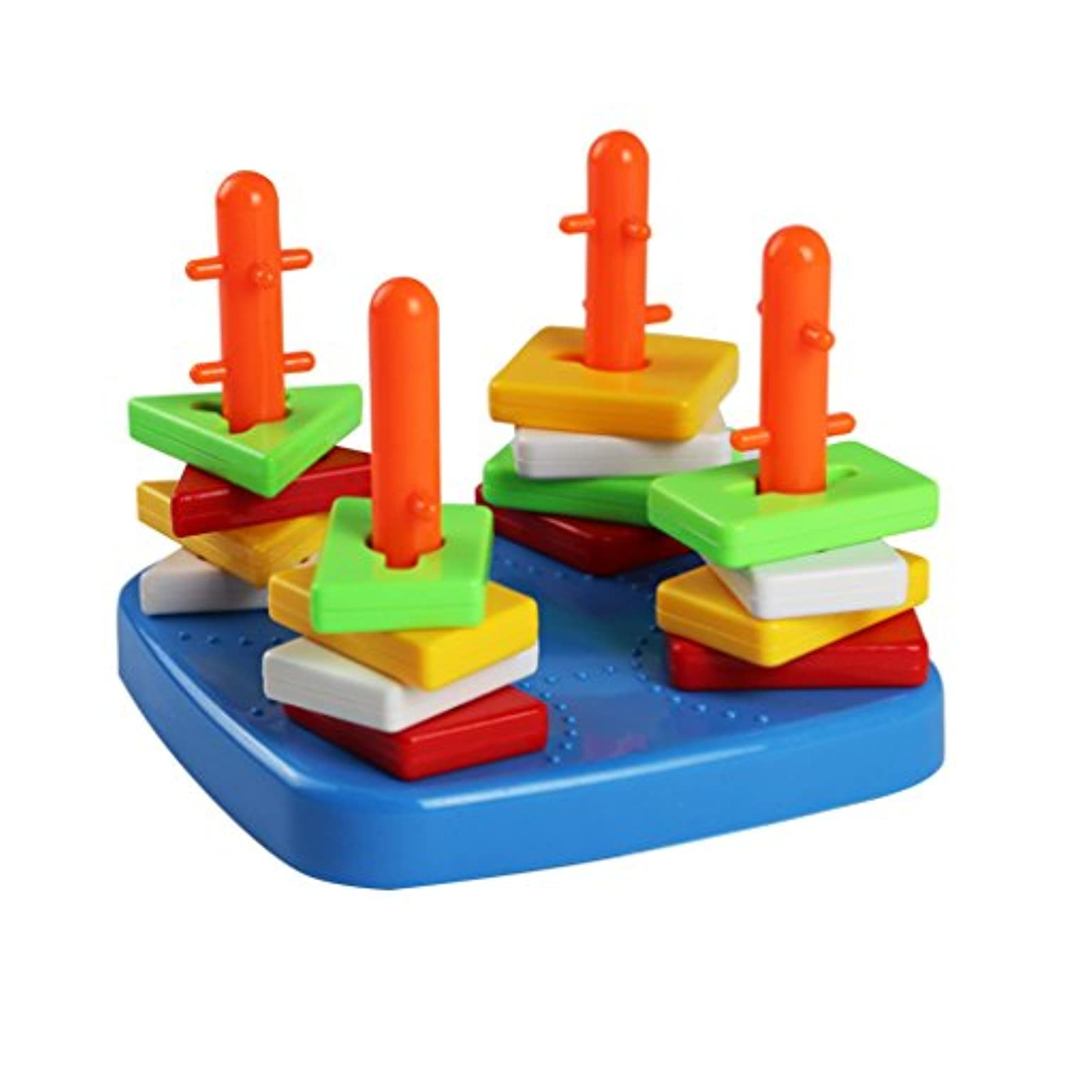 Shape Sorter Geometric Stacker Toy Plastic Building Blocks Colourful Piece Column Puzzle Stacking Educational Toys for Kids 3 4 Years Old