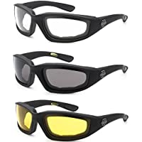 3 Pairs of Choppers Glasses Padded Frame Clear Yellow Smoke Lense Block 100% UVB for Outdoor Activity Spot