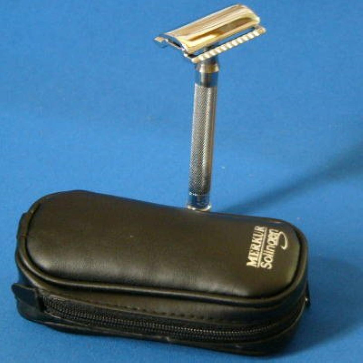 足枷穏やかな調整メルクール髭剃り(ひげそり) 23C(専用革ケース&替刃11枚付)