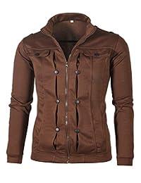 Keaac メンズクラシックデザインラペルカーディガンスウェットシャツジャケット