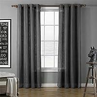 半薄手のドレープ2パネルセット - ボイル透明ポリエステルパネルとアイレットリングトップウィンドウトリートメント - 家の装飾のための現代のボイルウィンドウカーテン,Gray,55''W×86''H