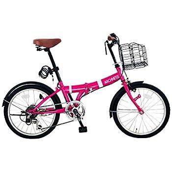 ARCHNESS 206-A 折りたたみ自転車 20インチ 6段変速 ワイヤー錠・LEDライト付 (ピンク)