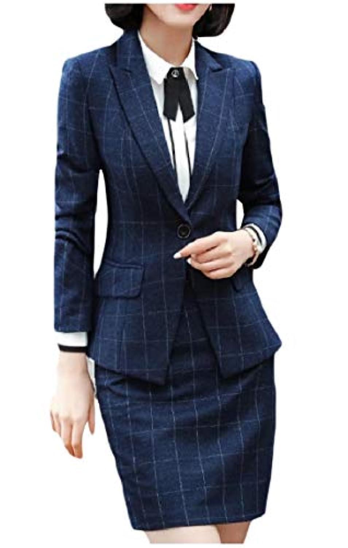 Kankanluck 女性ノッチラペルオフィスは、ビジネスジャケットスカートスーツセット