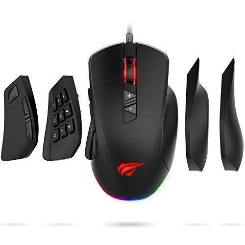 HAVIT ゲーミングマウス サイドボタンを8/14ボタンに付け替え可能 光学式USB有線マウス 高精度ターゲティング 12000DPI 6段階DPI プログラム可能なボタン RGBカスタマイズ可能 HV-MS760 (黒い)