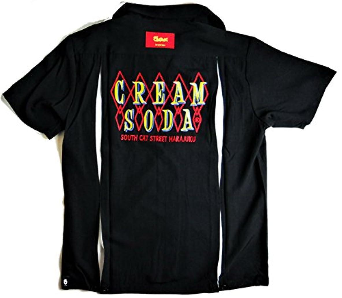割り当てる感じるグリル☆CREAM SODA ◇ロゴ刺繍シャツ ☆ PINK DRAGON クリームソーダ