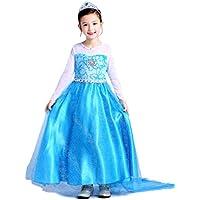 (eones) エルサ 風 ドレス プリンセス ロングドレス なりきり コスプレ 3点セット (110cm)
