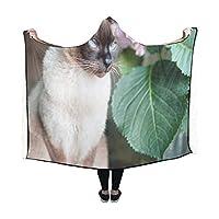 XHQZJ 膝掛け かわいい動物 猫 シャム フード付き毛布 肩掛け 着る毛布 ブランケット 帽子付きマント 部屋着 ルームウェア フランネル 可愛い 柔らかい レディース 大きい