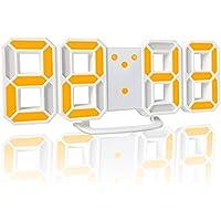 YABAE デジタル時計 LEDデジタル 目覚まし時計 時計 壁掛け 3D led wall clock 置き時計 置時計 おしゃれ 多機能 明るさ調整 スヌーズ アラーム クロック 12H/24H時間表示 立体 卓上 ACアダプター付属 イエロー AL-02-Y 【Amazon.co.jp 限定】
