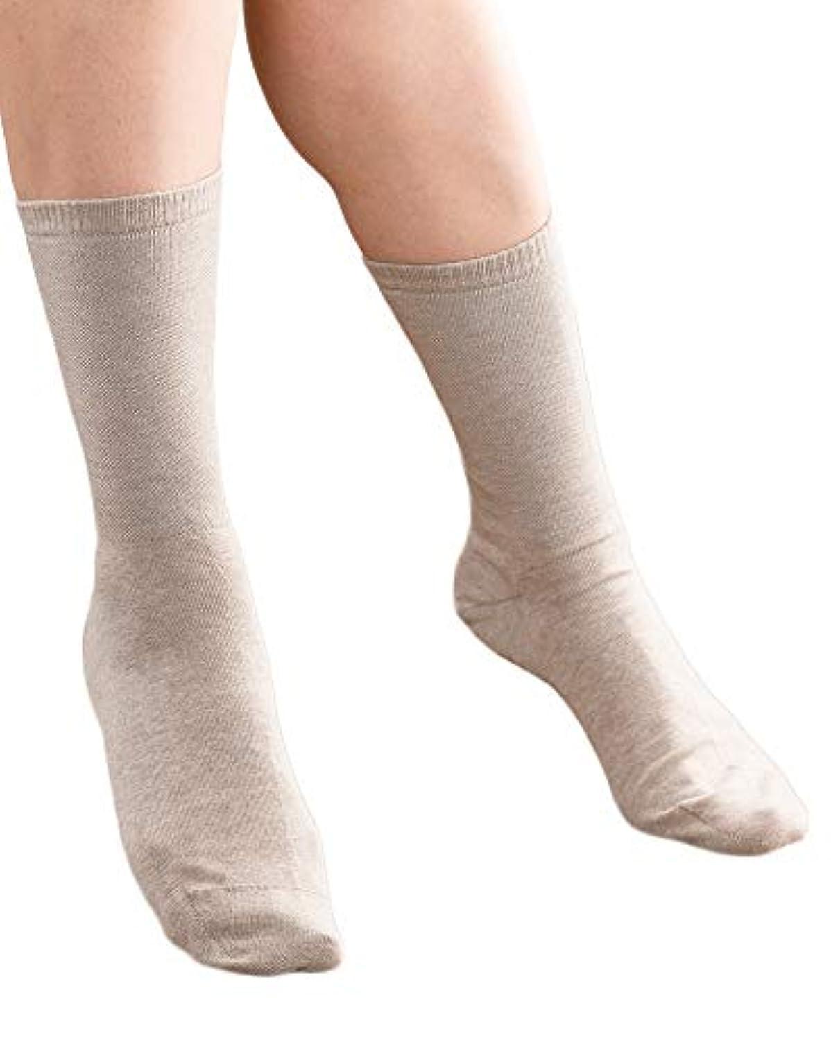 膜誰も違法〈ギロファ ナチュラルライン〉しめつけない靴下 (L, ベージュ)