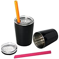 Housavvy Kids Tumbler Double-walled Stainless Steel Set of 2 -Black [並行輸入品]