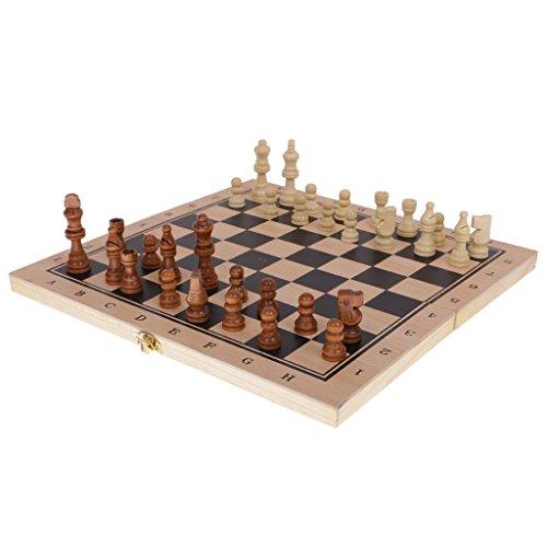 【ノーブランド品】 木製 折り畳み ボードゲーム チェス チェッカー バックギャモン おもちゃ 3点セット