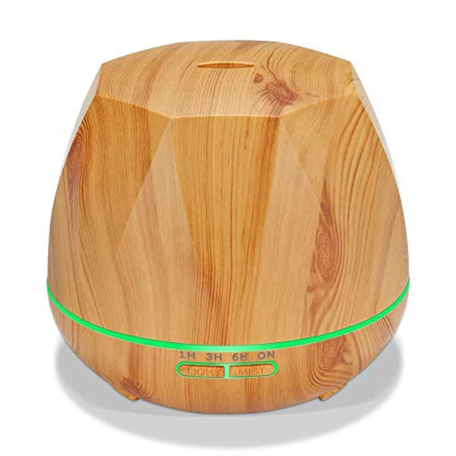 動機商標誇張木目 涼しい霧 加湿器,7 色 空気を浄化 加湿機 時間 デスクトップ 精油 ディフューザー アロマネブライザー Yoga ベッド 寮- 300ml