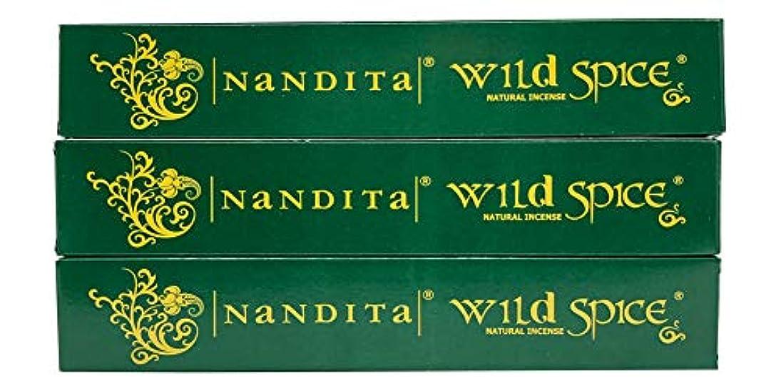 アクション無し鳩Nandita Wild Spice プレミアムナチュラルマサラ香スティック 3本パック (各15グラム)