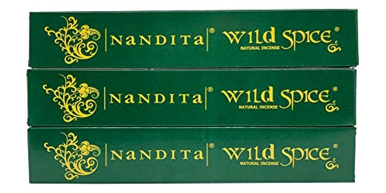 映画化石クスコNandita Wild Spice プレミアムナチュラルマサラ香スティック 3本パック (各15グラム)