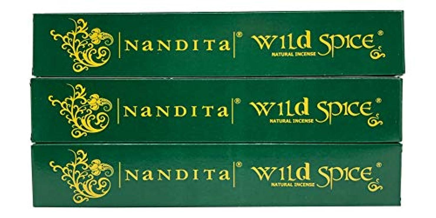 石鹸暴力的な目を覚ますNandita Wild Spice プレミアムナチュラルマサラ香スティック 3本パック (各15グラム)